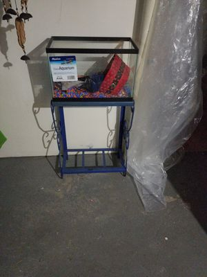 10 gallon aquarium with iron stand. Food net heater filter for Sale in Pittsburgh, PA