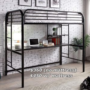New black metal finish twin loft bed with mattress for Sale in Ontario, CA