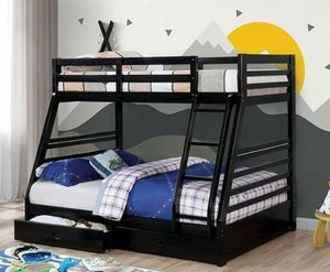 BLACK FINISH TWIN OVER FULL SIZE BUNK BED DRAWERS for Sale in San Diego, CA