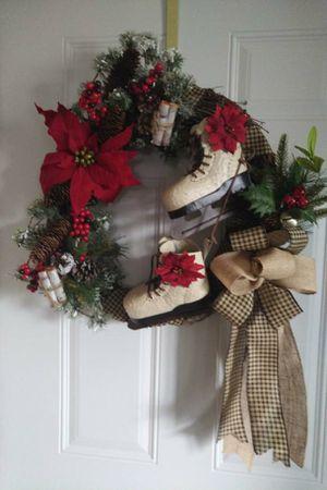 Holiday grapevine skate wreath for Sale in Rhinelander, WI