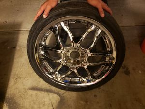 "Chrome and black 20"" rims with tires. for Sale in HUNTINGTN BCH, CA"