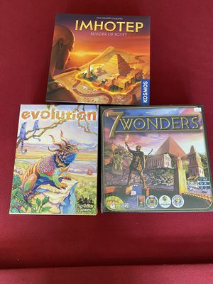 7 Wonders Evolution and Imhotep Board Games for Sale in Beaverton, OR