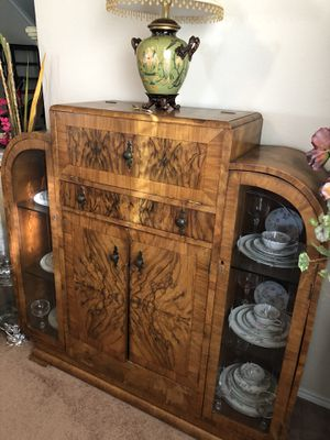 Antique cabinet with glass for Sale in Dallas, TX