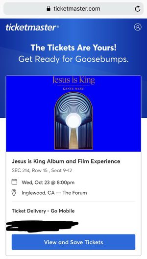 Kanye West Jesus is King and Film Experience The Forum for Sale in Los Angeles, CA