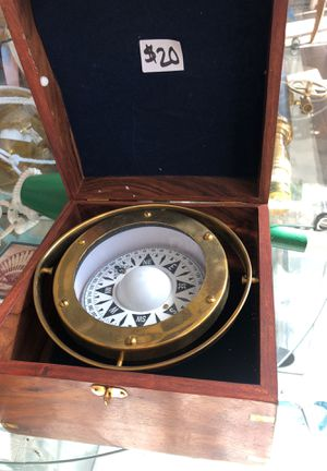 Brass Gimbal Compass in Rosewood Box for Sale in Alhambra, CA