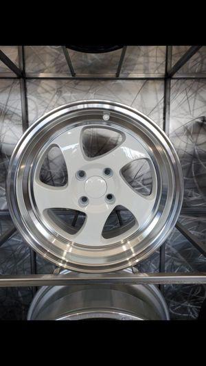 White face wheels with lip 15x8 4x100 et20 fits Honda civic Mazda miata Sentra rims tires wheels for Sale in Tempe, AZ