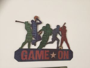 Game On metal wall decor for Sale in North Haven, CT
