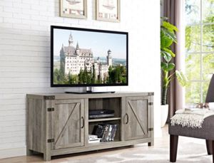 Manor Park Barn Door TV Stand with Side Doors - Brand New With Assembly Included for Sale in San Lorenzo, CA