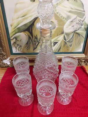 Antique crystal decanter with 4 matching glasses for Sale in Fresno, CA