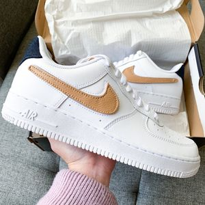 Nike Air Force 1 af1 white denim shoes special edition hypebeast streetwear 7.5 9 for Sale in Huntington Beach, CA