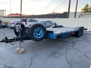 30 foot custom trailer with drive over ramps 14,000 pound axles metal bed with over 40 hooks perfect to haul a big truck or a few small cars for Sale in Las Vegas, NV