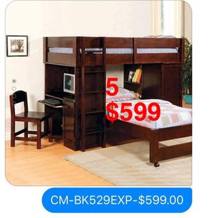 Bunk bed. Trundles are $85. Mattresses are extra. Assembly required. Free delivery. for Sale in Whittier, CA