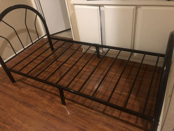 Twin black metal bed frame
