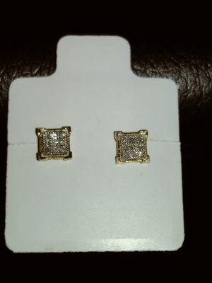 New 10k Solid Yellow Gold Diamond earrings .10 carat $135 OR BEST OFFER for Sale in Phoenix, AZ