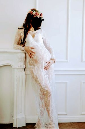 V-neck Lace Fancy Shooting Maxi Maternity Gown for Sale in Boca Raton, FL