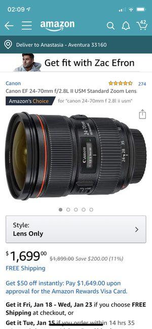Canon EF 24-70mm f/2.8L II USM Standard Zoom Lens for Sale in Miami, FL