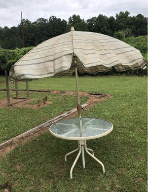 Patio Table & Retractable Umbrella - White Metal & Glass Top. for Sale in Decatur, GA