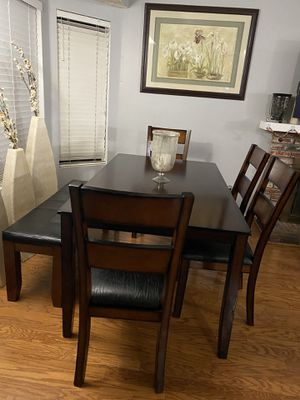 Dining Table with 5 Leather Chairs and 1 Bench (Like New) OBO for Sale in Rancho Cucamonga, CA
