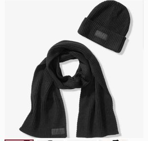 New Victoria's secret pink black hat and scarf set for Sale in Lake Zurich, IL