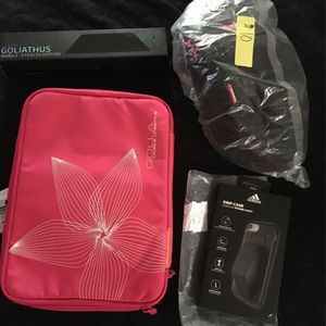 "$20 Pink Holland Bag10.2"", bag, $20Adidas Grip Case,$4Razer Mouse pad or gaming Pad for Sale in Visalia, CA"
