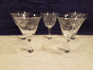 5x Princess house - etched crystal - stemmed Liqueur glasses - collectable vintage glass for Sale in Las Vegas, NV
