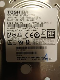 "Toshiba 500gb HDD 2.5"" Laptops Drive for Sale in Laveen Village,  AZ"