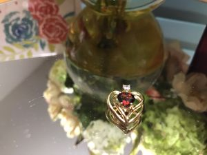 Beautiful! Gold Ruby Red Stone Heart ❤️ Pendant for Sale in Gainesville, VA