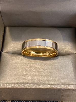 Unisex 18K Gold plated engagement Ring—code Stripe3001 for Sale in Sacramento, CA