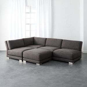 CB2 Gybson Earth Grey Sectional w/ Ottoman for Sale in Los Angeles, CA