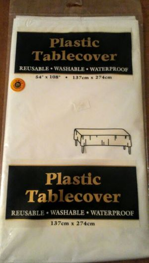 """Plastic tablecover New 54"""" by 108"""" for Sale in Three Rivers, MI"""