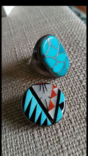 Vintage Zuni Sterling Silver & Turquoise Jewelry ~ Ring & Pin/Pendant for Sale in Hermosa Beach, CA