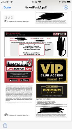 2 VIP tickets - Beck & Cage the Elephant - The Gorge for Sale in Ellensburg,  WA