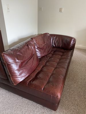 Brown faux leather couch for Sale in Charlottesville, VA