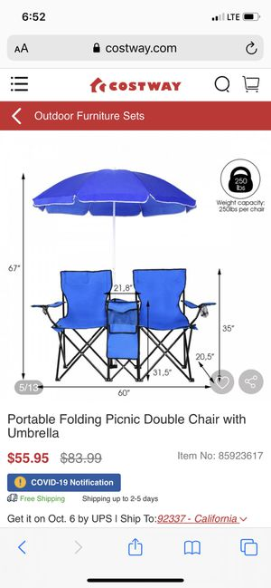 New portable folding double chairs and umbrella for Sale in Fresno, CA
