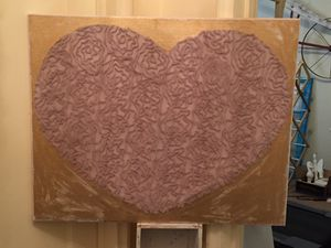 Gold heart canvas art for Sale in Elmsford, NY