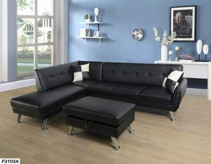 New Black faux leather Sectional with Ottoman for Sale in Puyallup, WA