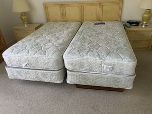 Two twin mattresses with box springs and bed frames. Both in excellent condition. for Sale in Gulf Stream, FL