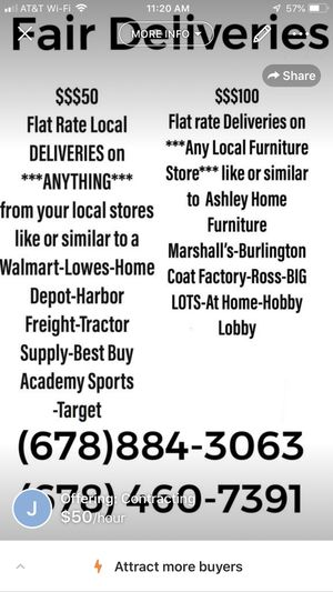 Flat rate deliveries in local areas furniture TVs washers dryers house appliances $50 flat rate and $100 furniture rate for Sale in Snellville, GA