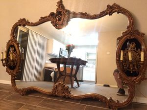 Vintage French antique gold gilt mirror with wall sconce lights for Sale in Goodyear, AZ
