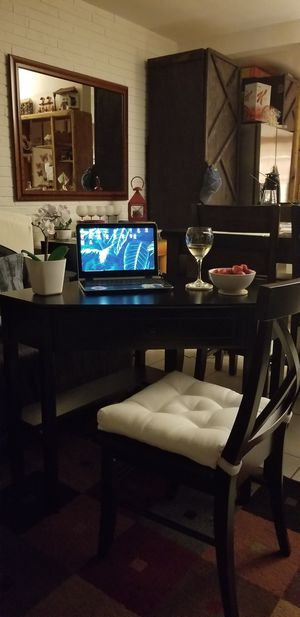 Black corner table or desk with the chair. for Sale in HALNDLE BCH, FL