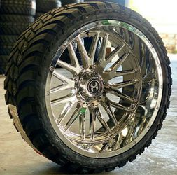 24x14 Chrome HARDCORE Wheels and tires set 33125024 for Sale in Phoenix,  AZ