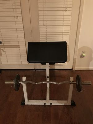 Olympic Size Preacher Curl and Dumbbells, 275 lbs of weights, workout for Sale in Houston, TX