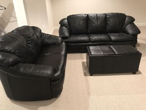 Black leather couches set with ottoman for Sale in Ashburn, VA
