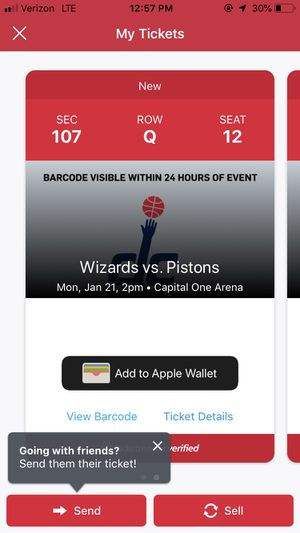 Wizards vs Pistons for Sale in Washington, DC