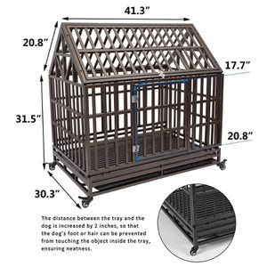 46 inch with roof Heavy Duty Dog Crate Strong Metal Pet Kennel Playpen with Two Prevent Escape Lock, Large Dogs Cage with Wheels, Black for Sale in City of Industry, CA
