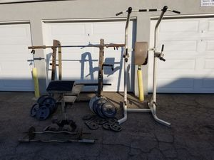 Squat rack, pull up and dip station, plus weights and bench for Sale in Huntington Beach, CA