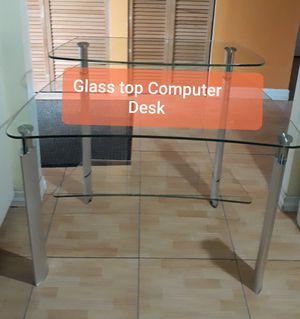 Computer desk $105. Half inch glass surface for Sale in North Lauderdale, FL