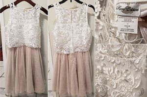 Beautiful Girls Lace & tule Dress, Size 14, Champagne/Ivory for Sale in Irvine, CA