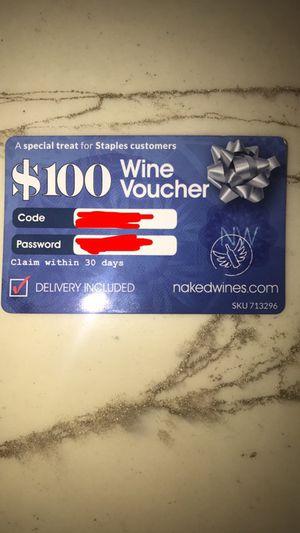 100$ wine voucher for Sale in Poway, CA