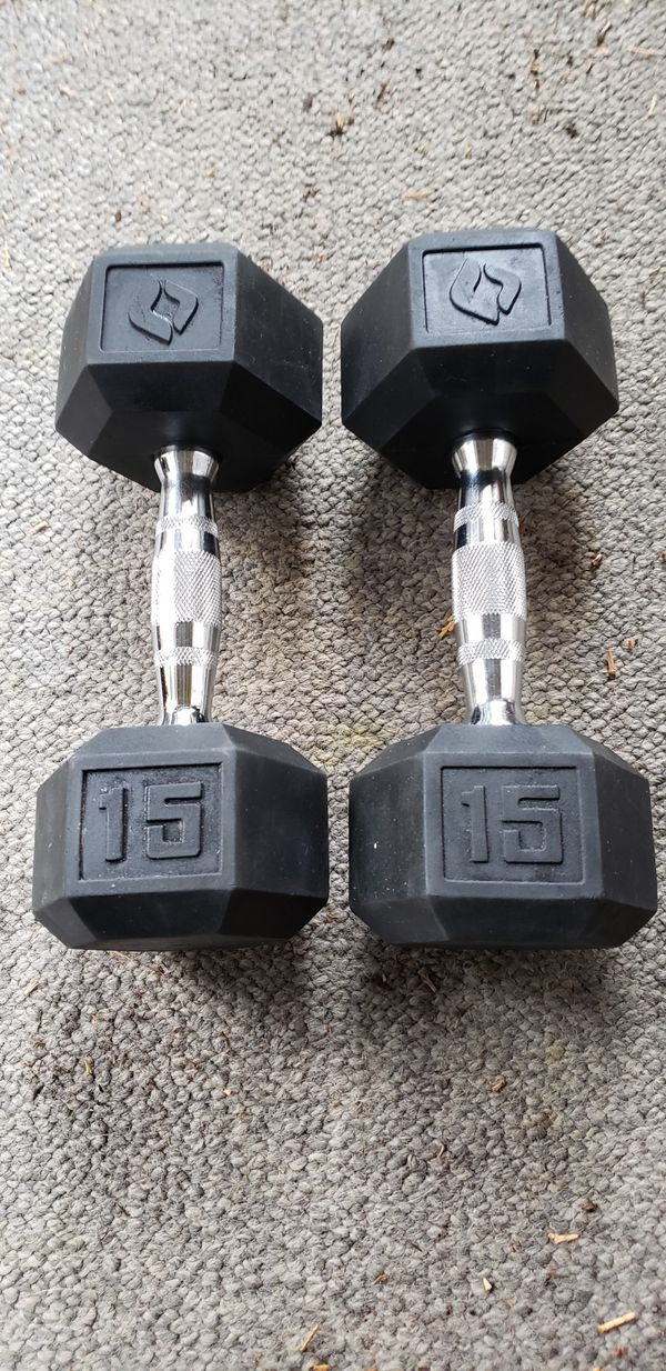 Pair 15 lb of SA Gear Rubber Coated Dumbbells